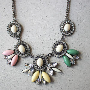 Pastel Gunmetal Flower Crystal Necklace